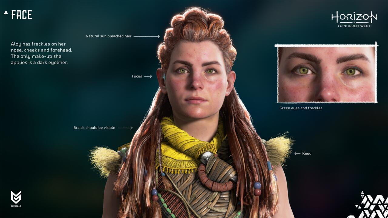Guerrilla has released new images of Aloy's character model in Forbidden West